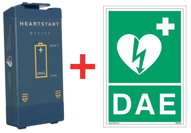Kit batterie pour défibrillateur HS1 + signalétique officielle offerte