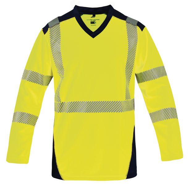 Tee-shirt fluorescent à manches longues avec bandes réfléchissantes