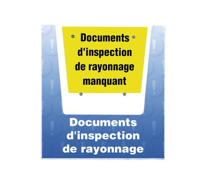 Porte-documents mural - Documents d'inspection de rayonnage
