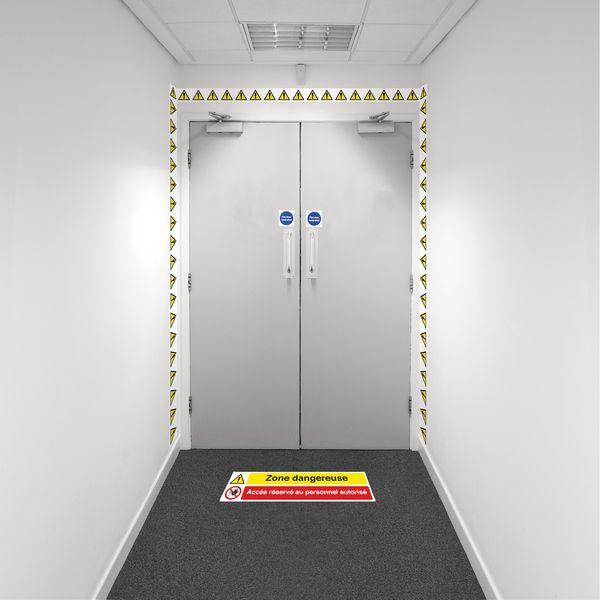 Kit barrière visuelle avec ruban adhésif mural et marquage au sol - Danger Accès reservé - W001