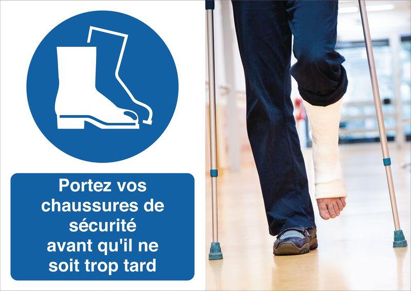 Poster de sécurité - Portez vos chaussures de protection - M008