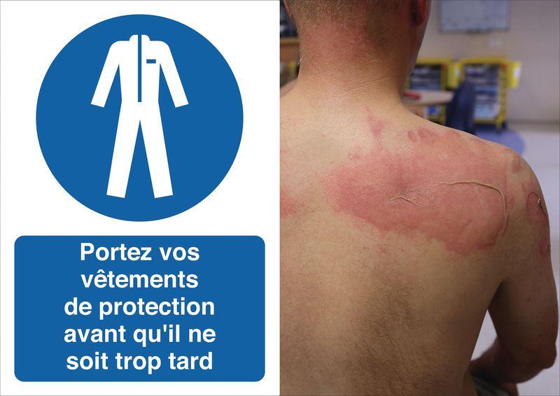 Autocollants et panneaux de prévention - Portez votre vêtement de protection - M010