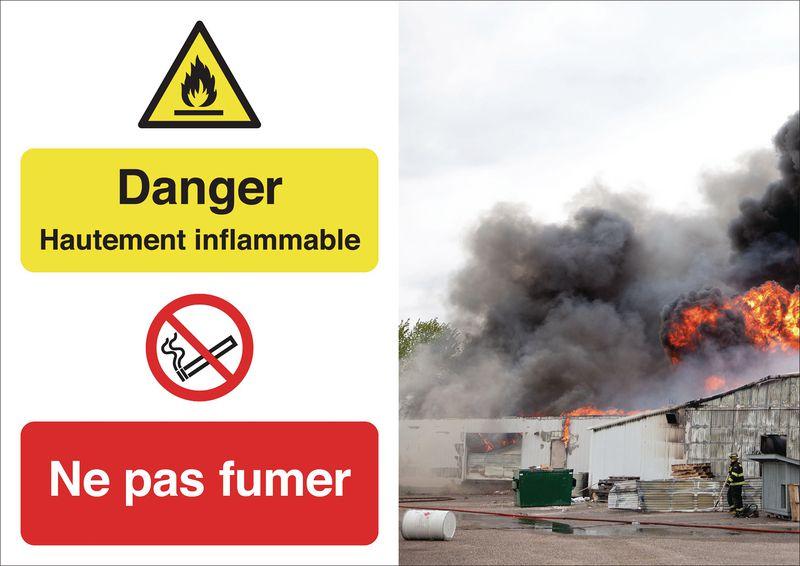 Poster de sécurité - Danger zone inflammable Ne pas fumer-  W021 P002