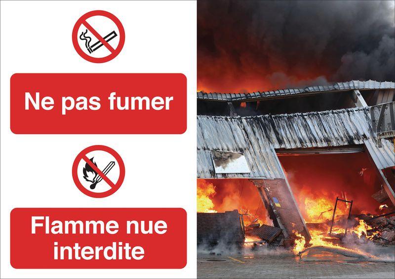 Poster de sécurité - Ne pas fumer et flamme nue interdite P002 P003