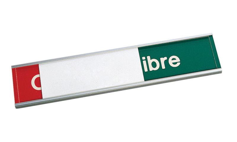 Plaque gravée Occupé/Libre avec panneau coulissant vierge