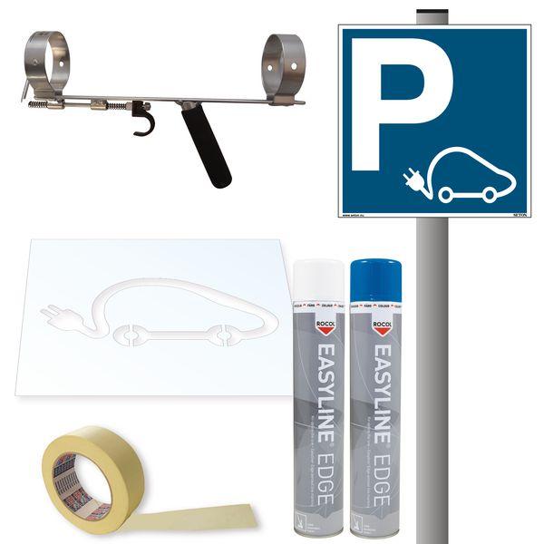 Kit de signalisation pour place réservée aux voitures électriques - Panneau PVC