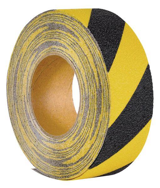 Bande antidérapante adhésive jaune et noire en rouleau Easy Clean