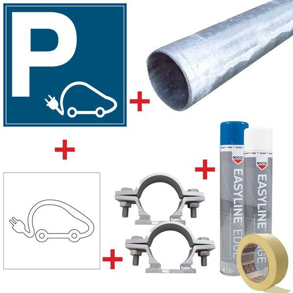 Kit de signalisation pour place réservée aux voitures électriques - Panneau aluminium