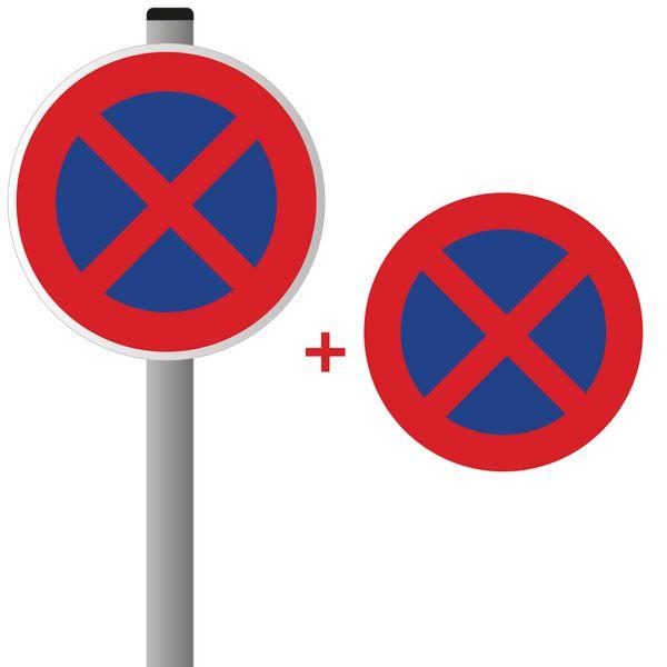 Kit panneau interdiction de stationner avec fixation et marquage au sol thermocollé