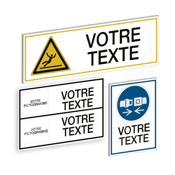 Panneaux et autocollants avec pictogramme et texte personnalisés