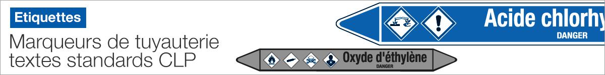 Liste des marqueurs de tuyauterie CLP avec textes standards |