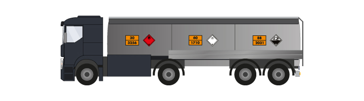 Plaques de transport ADR posées sur camion citerne plusieurs cuves