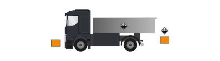 Plaques de transport ADR posées sur camion non citerne