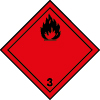 Plaque de transport rouge ADR liquides inflammables n°3