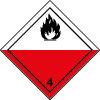 Plaque de transport rouge et blanche ADR spontanément inflammable n°4-2