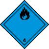 Symbole de transport ADR substances combustibles : dégage du gaz inflammable en contact de l'eau n°4-3