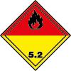 Plaque de transport jaune et rouge ADR peroxydes organiques n°5-2