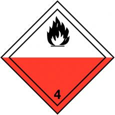 Symbole de danger rouge et blanc ADR spontanément inflammable