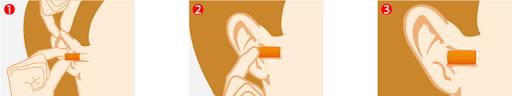 Etape de mise en place Bouchons d'oreilles jetables et modulables