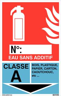 Panneaux d'identification extincteurs - Eau sans additif, classe A