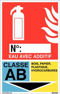 Panneaux d'identification extincteurs - Eau avec additif, classe AB