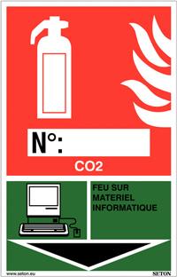 Panneaux d'identification extincteurs - CO2, feu sur matériel informatique