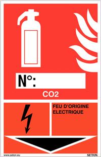 Panneaux d'identification extincteurs - CO2, feu d'origine électrique