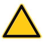 Triangle jaune à bordure noire pour signaler un danger.