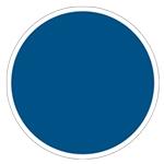 Rond bleu à bordure blanche pour signaler une obligation.