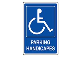 Panneaux et pictogrammes de place handicapé