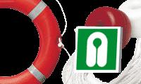 Salvagenti e cartelli di evacuazione per banchine