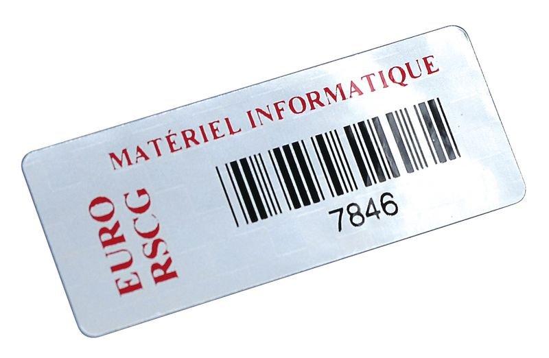 Etichette con codice a barre personalizzate in poliestere metallizzato