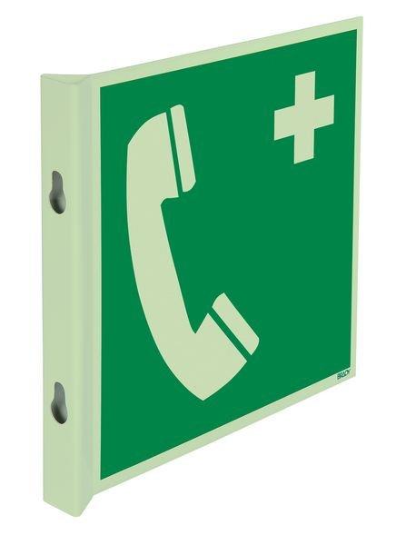 """Cartelli EN ISO 7010 fotoluminescenti a bandiera e tridimensionali """"Telefono di emergenza"""" - E004"""