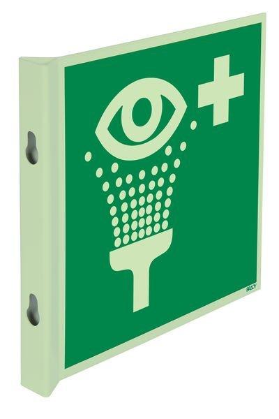 """Cartelli EN ISO 7010 fotoluminescenti a bandiera e tridimensionali """"Lavaocchi di emergenza"""" - E011"""