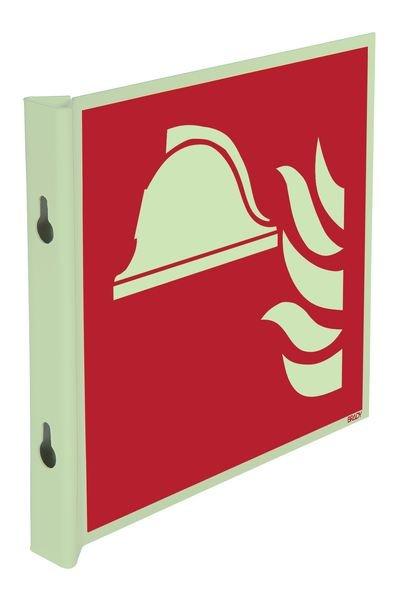"""Cartelli EN ISO 7010 fotoluminescenti a bandiera e tridimensionali """"Attrezzature antincendio"""" - F004"""