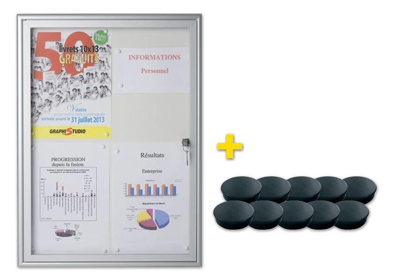 Kit 1 bacheca da interni con fondo in metallo + 10 magneti neri