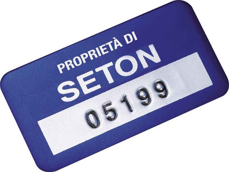 Etichette di proprietà SetonGuard® in alluminio anodizzato