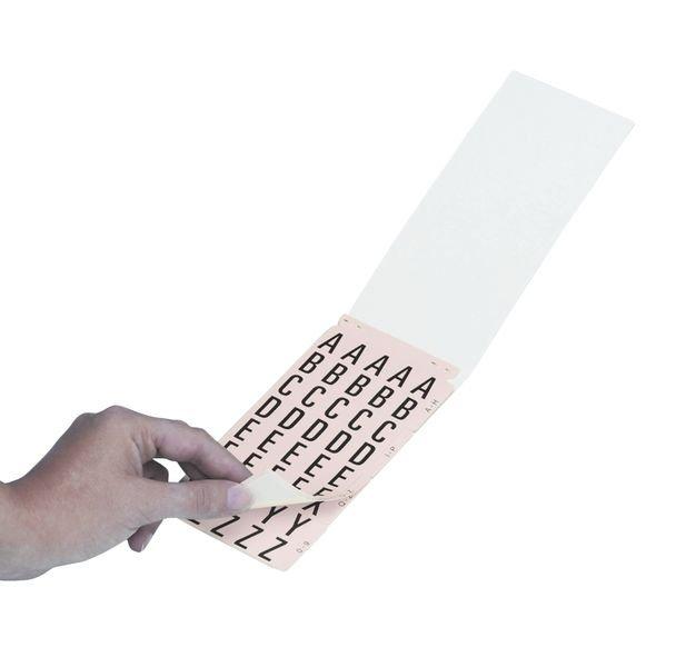 Cifre e lettere adesive in tessuto plastificato in carnet