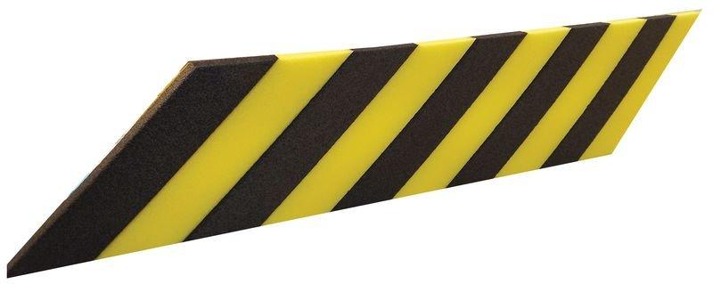 Profilo antiurto per superfici piane in schiuma di polietilene nero e giallo