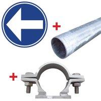 """Cartelli stradali """"Direzione obbligatoria a sinistra o a destra"""" in alluminio"""