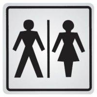 """Cartello d'informazione adesivo in acciaio """"Toilette uomini e donne"""""""