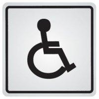 """Cartello d'informazione adesivo in acciaio """"Disabili"""""""