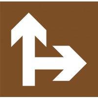 """Stencil in legno per segnaletica orizzontale """"Direzioni consentite diritto o a destra"""""""