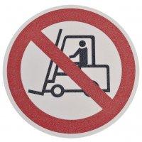 """Pittogramma antiscivolo per pavimento """"Vietato a carrelli elevatori e altri veicoli industriali"""""""