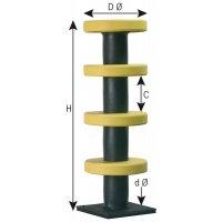 Palo con anelli di protezione in elastomero