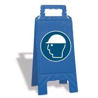 """Cavalletto di segnalazione """"Casco di protezione obbligatorio"""" EN ISO 7010 - M014"""