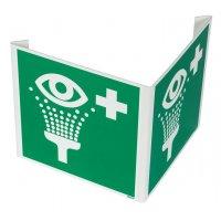 """Cartelli a bandiera e tridimensionali ISO 7010 """"Lavaocchi di emergenza"""" - E011"""