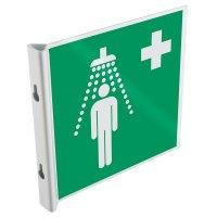 """Cartelli a bandiera e tridimensionali ISO 7010 """"Doccia di emergenza"""" - E012"""