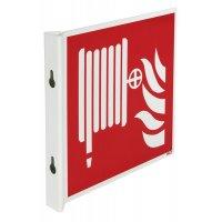 """Cartelli a bandiera e tridimensionali ISO 7010 """"Rubinetto di incendio armato"""" - F002"""