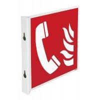 """Cartelli a bandiera e tridimensionali ISO 7010 """"Telefono da usare in caso d'incendio"""" - F006"""